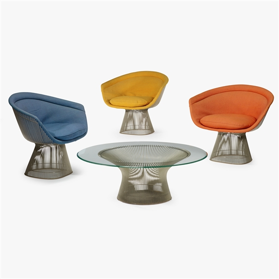 Warren platner pair of marble top side tables for Knoll and associates