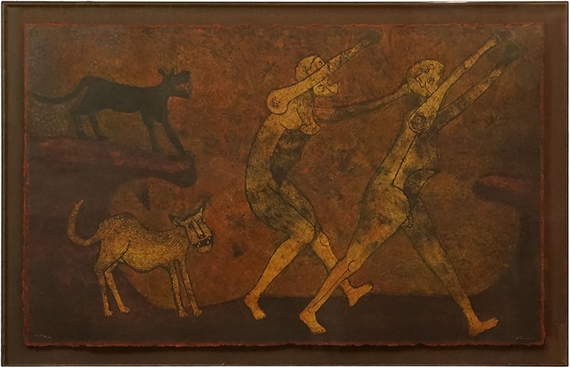 Artwork by Rufino Tamayo, Two Characters Attacked by Dogs, Made of mixograph in colors on handmade paper