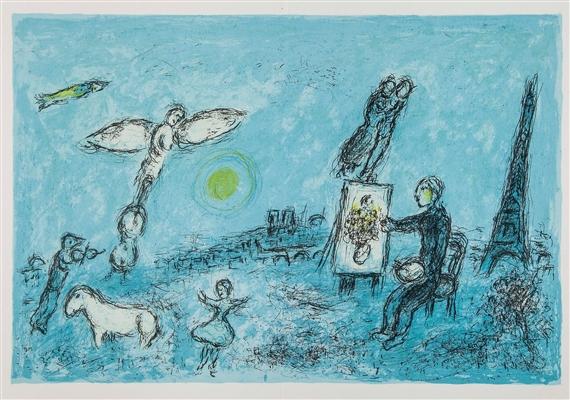 Marc chagall 2 works derri re le miroir for Chagall derriere le miroir