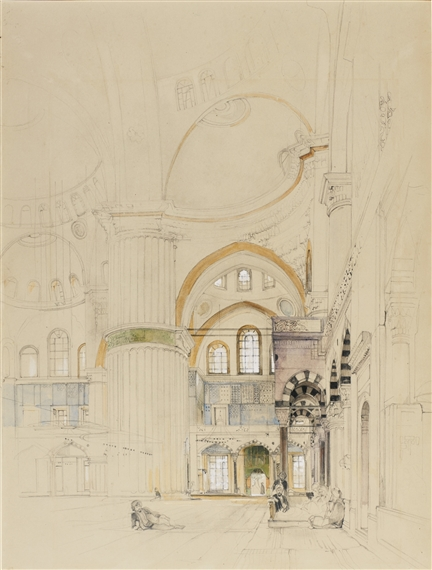 John Frederick Lewis, INTERIOR OF SULTANAHMET CAMII (THE BLUE MOSQUE), CONSTANTINOPLE