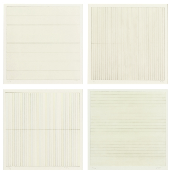 Agnes Martin Untitled 1998 Four Lithographs