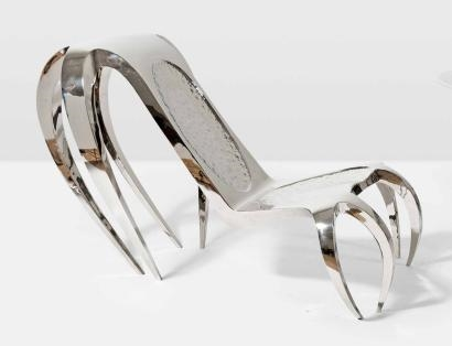 artwork by guillaume piechaud araigne fauteuil made of polished stainless steel - Fauteuil Stainless