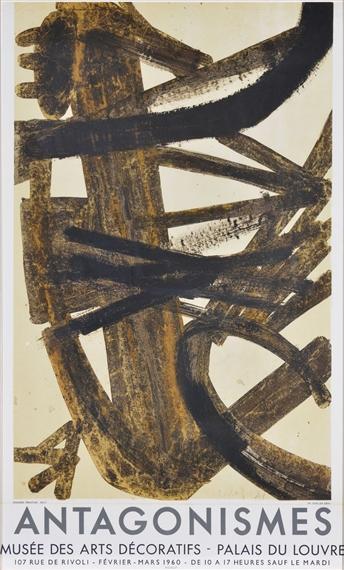 Soulages pierre affiche originale antagonismes 1960 for Affiche pierre soulages