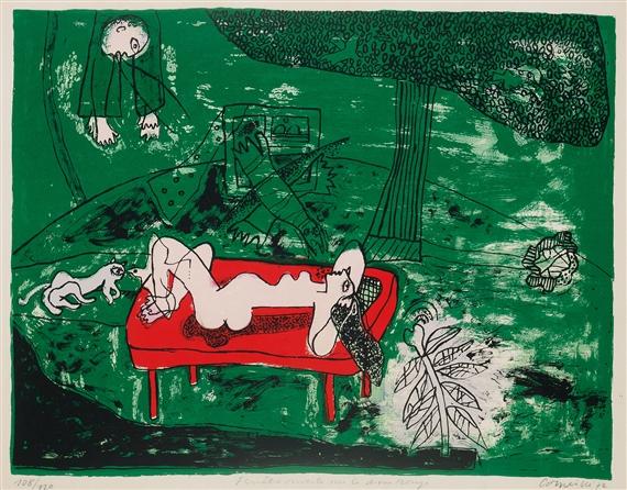 Corneille fen tre ouverte sur le divan rouge for Fenetre ouverte