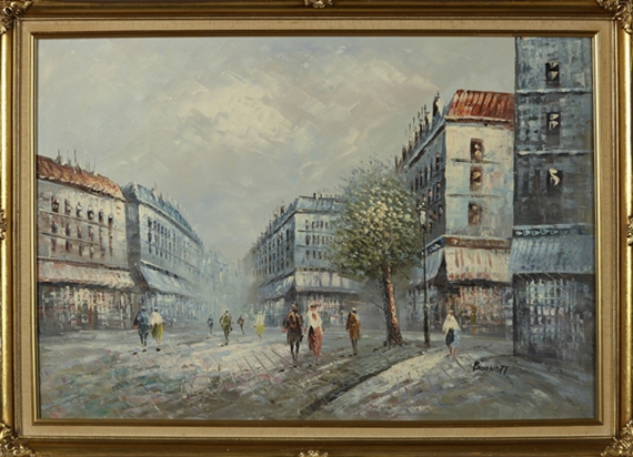 Burnett Caroline   Paris Street Scene with Figures (20th