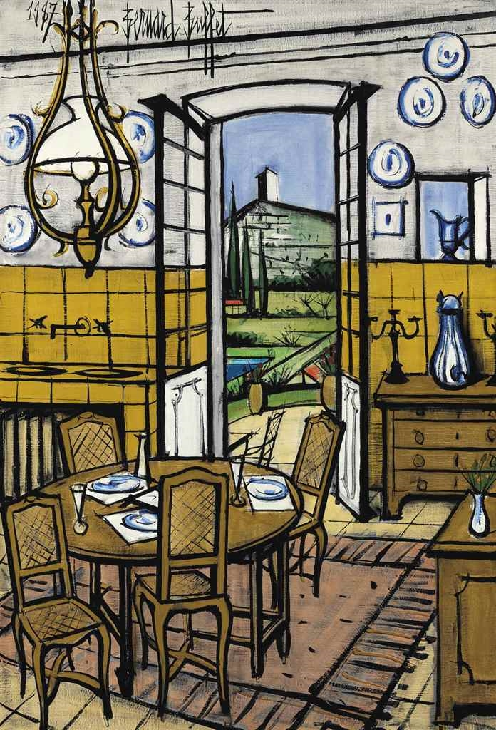 bernard buffet la baume la salle manger 1987. Black Bedroom Furniture Sets. Home Design Ideas