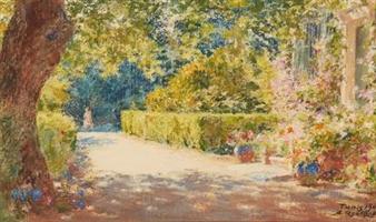 Alexandre roubtzoff all e dans le jardin 1941 for Alexandre jardin le zubial