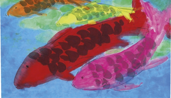 Ting Walasse | FOUR FISH WITH SCALES (1999) | MutualArt