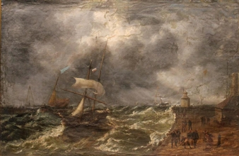 Thomas Rose Miles Storm Tossed Ship By Harbor