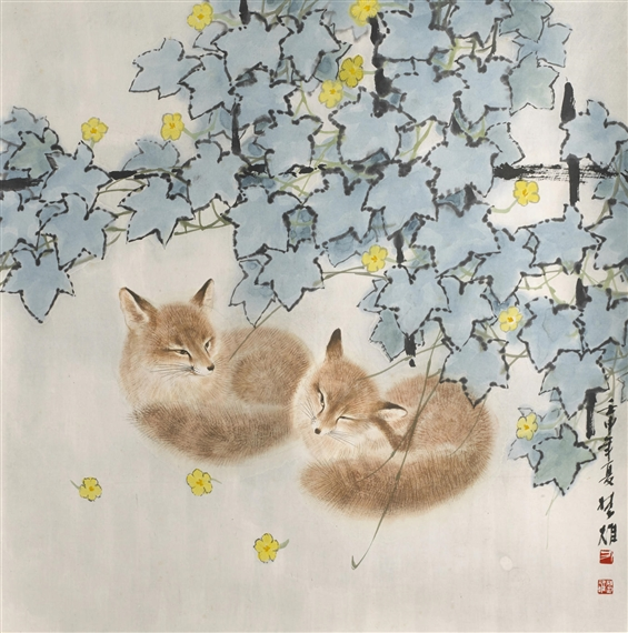 Fang Chuxiong Foxes 1992 Ink And Color On Paper