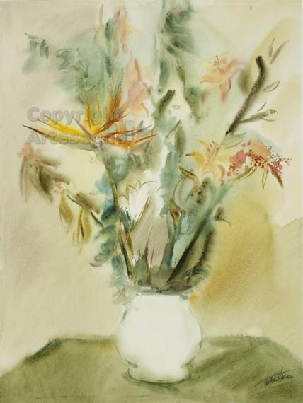 Fiori Watercolor.Tavagnacco Guido Vaso Bianco Con Fiori Mutualart