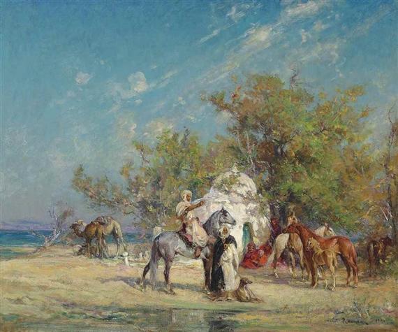 Henri-Emilien Rousseau - Preparing for the hunt,...