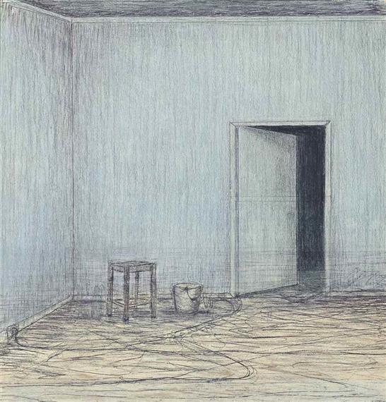 open door pencil drawing. Artwork By John Davies, Room (Half-Open Door), Made Of Pencil Open Door Drawing