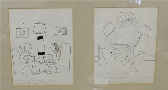 Artwork By James Thurber A Pair Cartoon Sketches Chop 4 Worms And