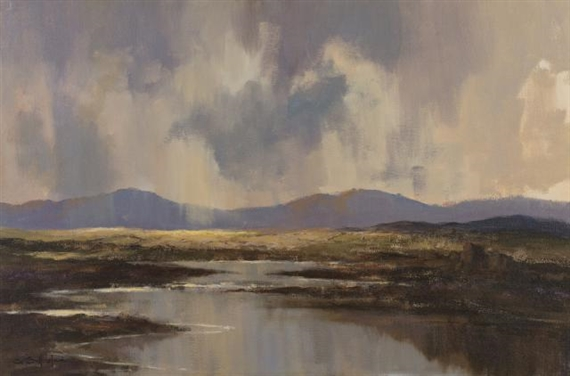 George Gillespie Achill Island Cottages Oil On