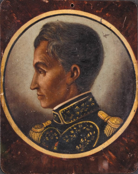 Artwork by Antonio Meucci, Retrato de Simón Bolivar, Made of oil on copper
