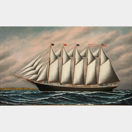 "Ship's Portrait of the Five Mast Wooden Hulled Schooner ""Magnus Manson"""
