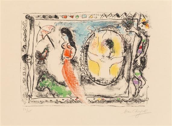 Marc chagall femme avec parapluie from derri re for Chagall derriere le miroir