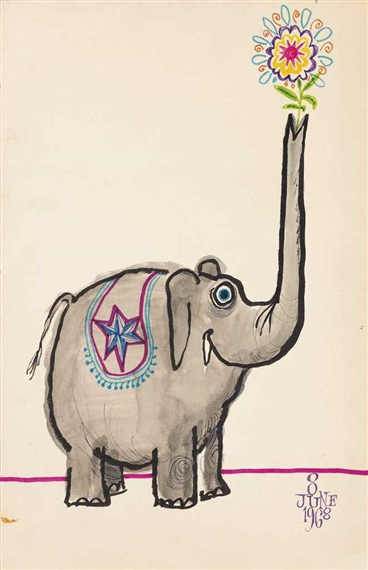 Searle Ronald Elephant Birthday Card 1968 Mutualart
