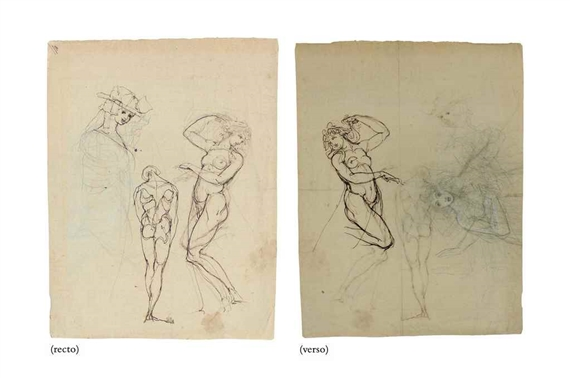 Fuseli Henry | Studies of a woman in a bonnet, and two nude figures ...