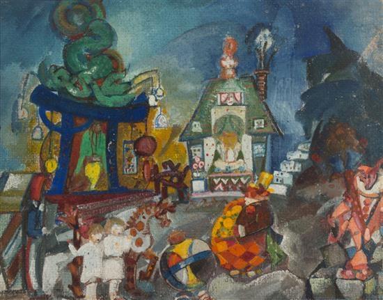 Artwork by Boris Anisfeld, Circus, Made of Gouache on board