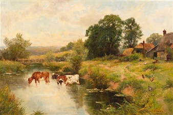 Ernest Walbourn Cows Drinking From Stream 1900