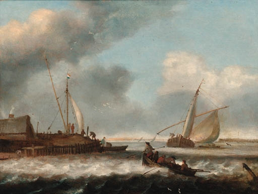 Simon de vlieger a fishing boat and a rowing boat off for Circle fishing boat