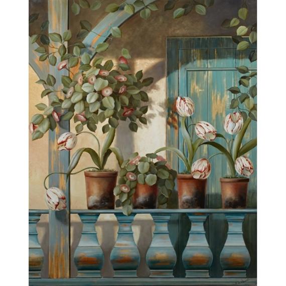 Fabrice De Villeneuve - Flowers on the Balcony,...