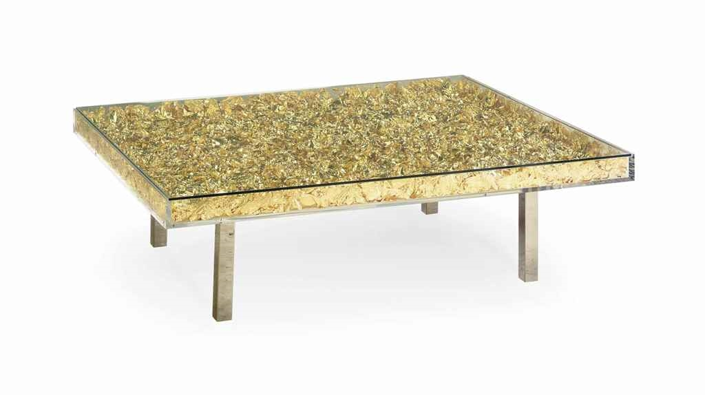 Yves klein table d 39 or golden table gold leaf for Table yves klein