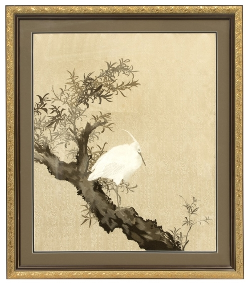 Japanese School 19th Century A Japanese Framed Embroidered Silk