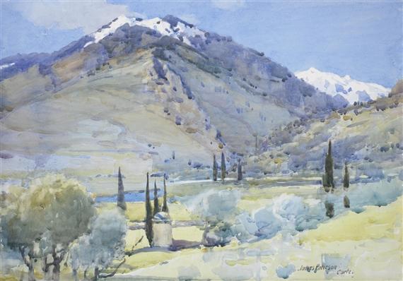 James Paterson The Restonica Corte Watercolour