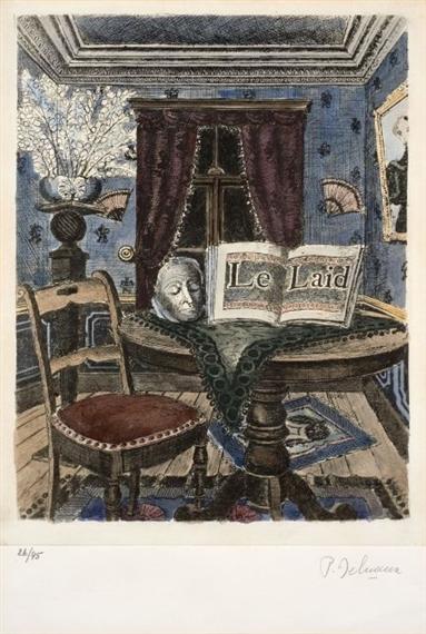 Paul delvaux le pays des miroirs 1978 etching for Paul delvaux le miroir