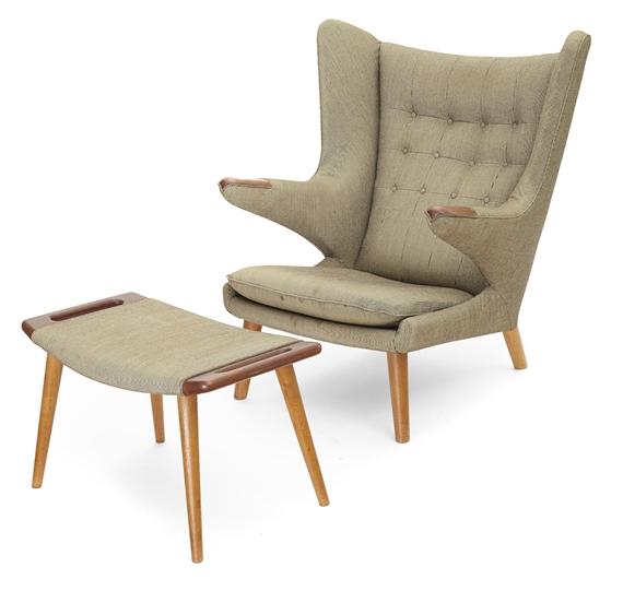 Artwork By Hans J. Wegner, Papa Bear Chair And Ottoman, Made Of Wool
