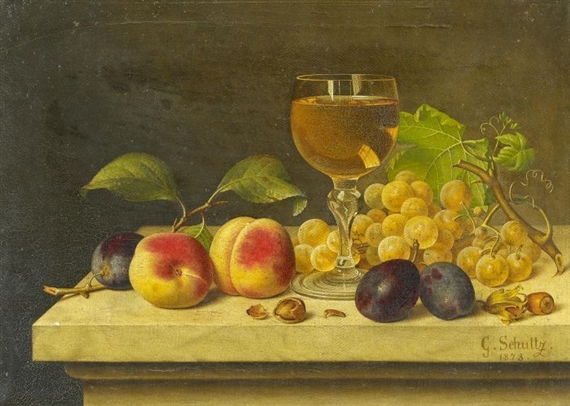 schultz gottfried still life with fruits and a glass of wine 1874 mutualart. Black Bedroom Furniture Sets. Home Design Ideas