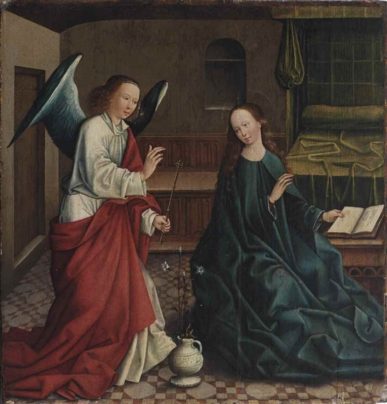 analysis of the annunciation by master More analysis of merode altarpiece the merode altarpiece is relatively small in size, measuring roughly 4 feet in width by 2 feet in height, and like the earlier seilern (entombment) triptych , was designed as a private devotional piece for use in the home.