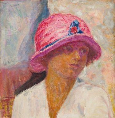 Artwork by Pierre Bonnard, Jeune femme au chapeau rose, Made of oil on canvas
