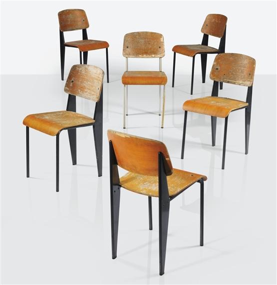 Jean prouv suite de six chaises standard for Chaise jean prouve