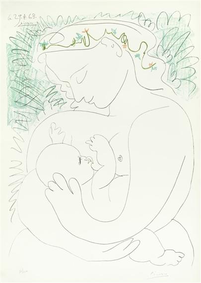 Pablo Picasso - Maternité, 1963, Offset lithograph...
