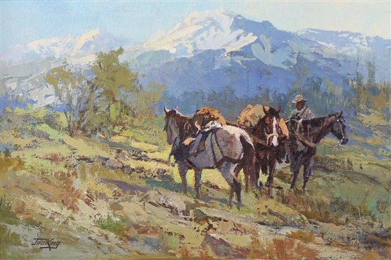 Pack Horses And Snowy Peaks