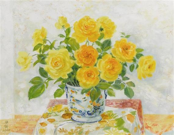 Le pho bouquet de fleurs oranges et jaunes oil for Bouquet de fleurs jaunes