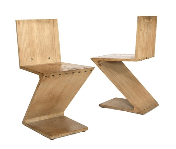 Artwork By Gerrit Rietveld, Two Zig Zag Chairs, Made Of Elm Wood