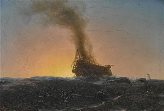 Brennendes Schiff