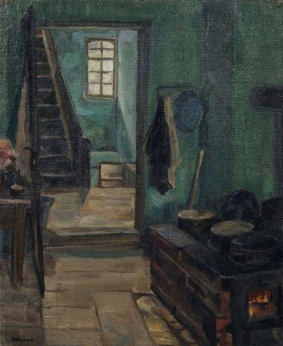 Wigand Albert | Interieur mit Holztreppe (1920) | MutualArt