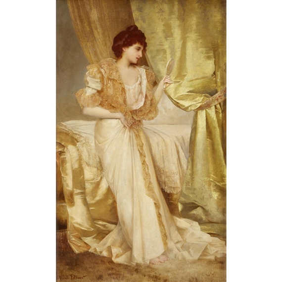 woman holding hand mirror. Artwork By Paul-Prosper Tillier, WOMAN HOLDING HAND MIRROR, Made Of Oil On Woman Holding Hand Mirror N