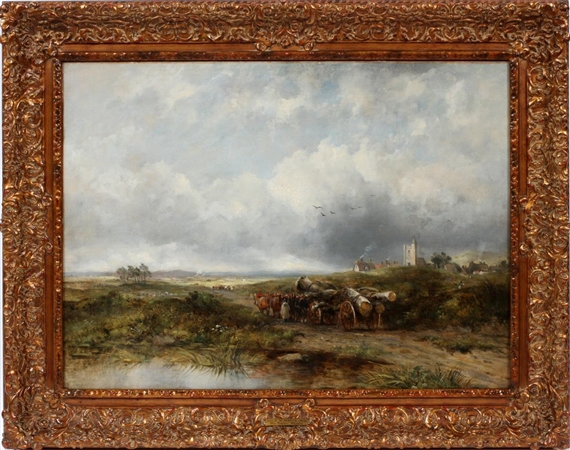 Frederick Waters Watts The Timber Wagon Oil On