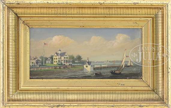 American School, 19th Century | Coastal Scene Depicting Naval ...