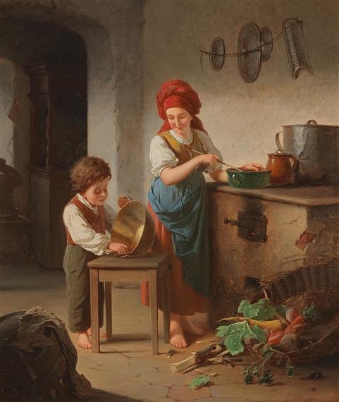 f. leskoy - bei der küchenarbeit, oil on wood - Küche Arbeit