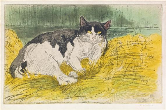 Theophile Alexandre Steinlen | Vieux Chat noir et blanc dans l\'herbe ...