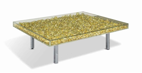 Yves klein table d 39 or gold leaf glass and for Table yves klein