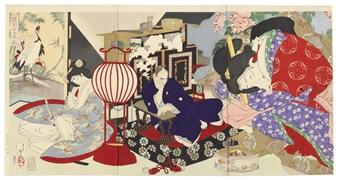 Yoshitoshi Tsukioka | 3 Works: Komachi Zakura no sei, Kobayakawa